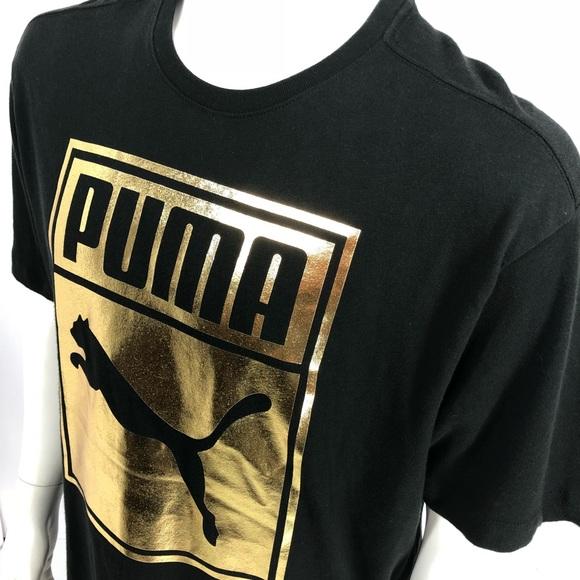 34e98878af67 Puma Mens Black Size XL Gold Metallic Logo Shirt